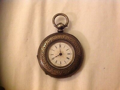 embossed silver antique Ladies pocket watch marked fine silver Blank Cartouche