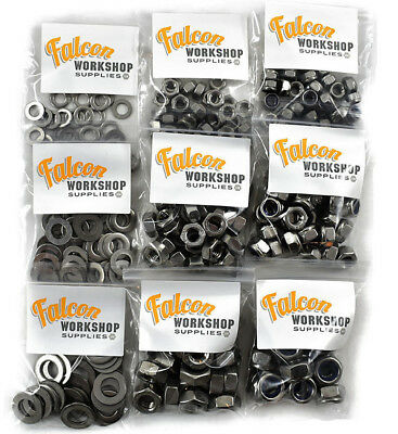 276 Assorted Piece A2 Stainless M6 M8 M10 Nyloc Full Nuts & Form A Washers Kit