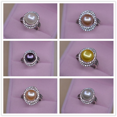One big size 10-11mm AAAA natural pearl 925s ring(6color)adjustable size jewelry