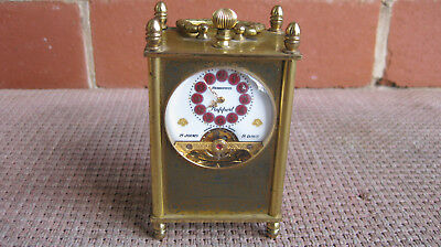 8 Day Hebdomas Patent Brass Carrige Clock Enamel No