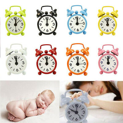 Outdoor Home Portable Cute Mini Cartoon Dial Number Round Desk Alarm Clock  NEW