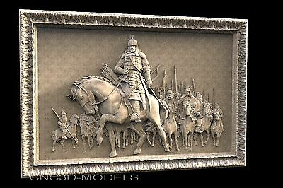 3D STL Models for CNC Router Carving Artcam Aspire Warrior Horse Horseman 1101