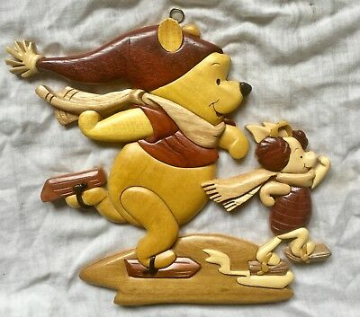 Disney Paris Intarsia Winnie the Pooh & Piglet Wood Wall Hanging Plaque