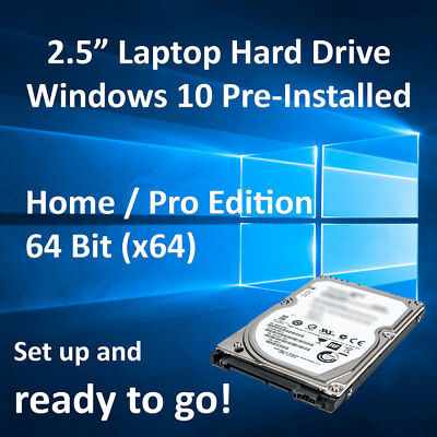 "2.5"" Laptop SATA Hard Drive HDD With Windows 10 Pre-Installed + Extras"