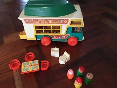 Vintage Fisher-Price Play Family Camper Van With Boat and People