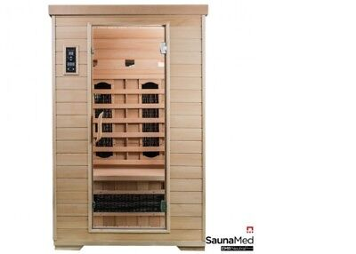 SaunaMed 2 Person Classic Hemlock FAR Infrared Sauna Durawave EMR Neutral™