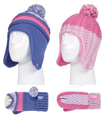 Heat Holders - Kids Girls Thermal Pom Pom Beanie and Mittens Set with Ear Flaps