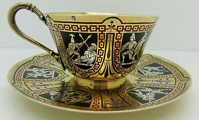 FRENCH 950 silver gilt TEA CUP & SAUCER. ENAMELLED GREEK WARRIORS. c.1890