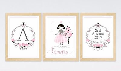 3 Personalised Princess Prints Nursery Wall Art Decor Girls Picture Birth  Gift