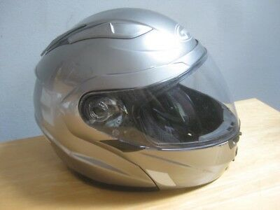 Silver Gmax Full Face Large L Motorcycle Helmet Used Clean Shield
