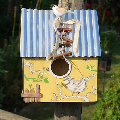 Hanging Decorative Garden Yellow Bird House Wooden with Metal Roof