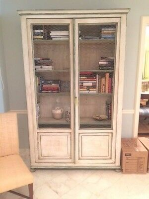 7ft Tall Antique Hand Painted French Bookcase, Kitchen Cupboard