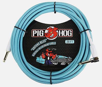 "Pig Hog ""Daphne Blue"" Guitar Cable, 20ft Right Angle FREE SHIPPING USA & CANADA"