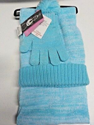 Girls One Size Berkshire Blue/silver Hat, Gloves & Infinity Scarf Set New #4628