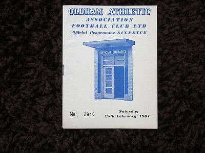 Oldham Athletic V Stockport County Football Programme 1961