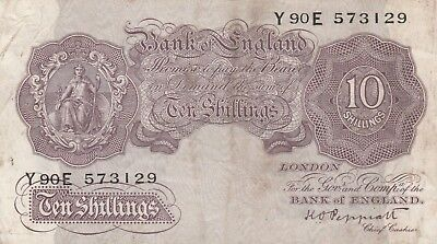 War issue mauve ten shilling note 1940. nice crisp old note.