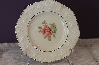 """Lovely Crown Ducal  8"""" Luncheon Salad Plate - Ivory With Pink Rose - Gold Trim"""