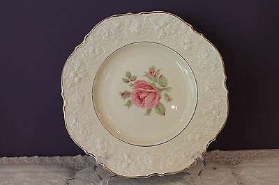"""LOVELY CROWN DUCAL WARE 9-3/4"""" DINNER PLATE(s) - IVORY WITH PINK ROSE - EMBOSSED"""