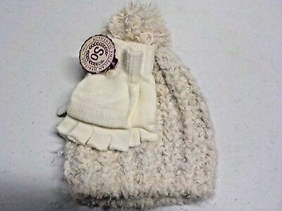 Girls Size Small So Brand Super Soft White Marled Hat And Gloves Set  New #4634
