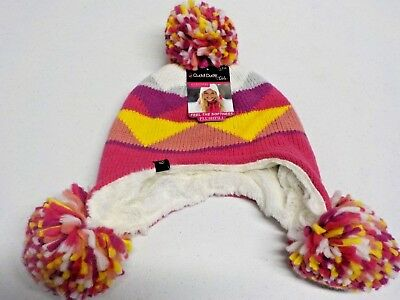 Girls Size 7-14 Cuddl Duds Pink & Orange Super Plush Lined Pom Pom Hat New #4635