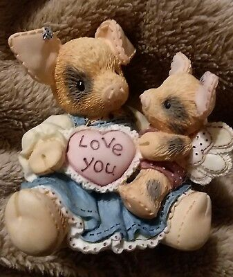 "Enesco This Little Piggy ""I'LL LOVE YOU TILL PIGS FLY"" Figurine MOMMA PIGLET tlp"