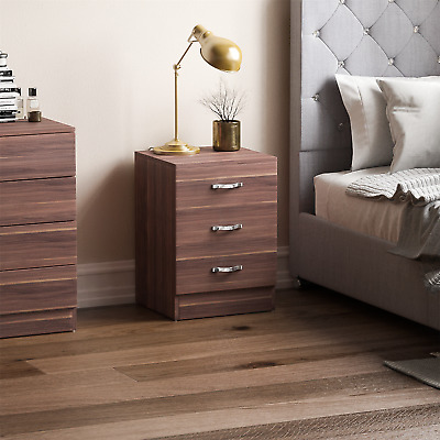 Riano Bedside Cabinet Chest Of Drawers Walnut 3 Drawer Metal Handles Runners
