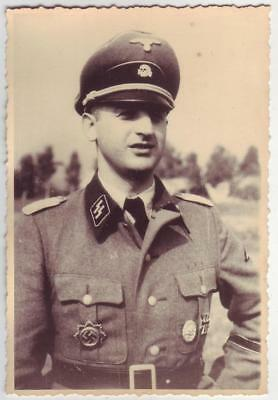 German Wwii Photo From Russian Archive: Elite Troops Officer, Name On Reverse