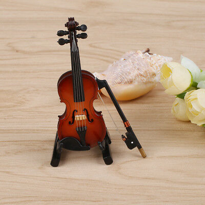 1/12 Miniature Wooden Violin with Stand Musical Instrument Children Toy Gift