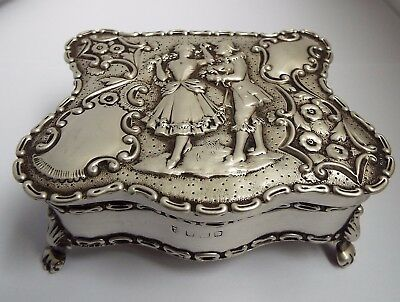 Superb Large Decorative English Antique 1906 Solid Sterling Silver Jewellery Box
