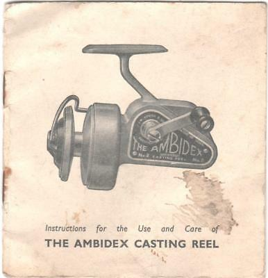 Vintage Collectable Fishing Angling Instruction Manual Ambidex Reel J W Young