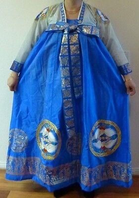 Luxury Blue Aqua Korean Traditional Hanbok Women Dress Embroidery Gold Print
