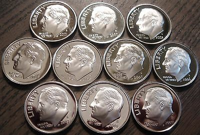 Complete 2000's Set of 10 SILVER Cameo Proof Roosevelt Dimes 2000-S to 2009-S