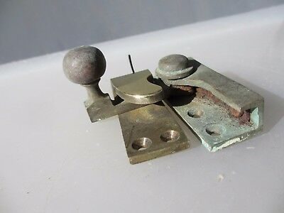 Antique Brass Sash Window Latch Catche Fastener Vintage Old Architectural Old