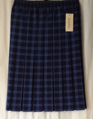 NEW LADIES PLUS SIZES 12-22 CHECK PATTERN BOX PLEAT FULL ELASTICATED LINED SKIRT