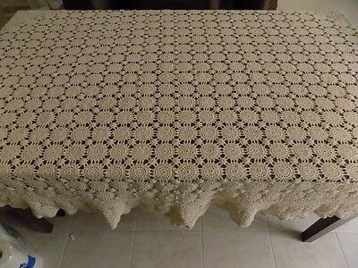 Tan Beige Crocheted Tablecloth