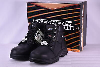 Men's  Skechers 77009EW/BLK Workshire Steel Toe Work Boots Black