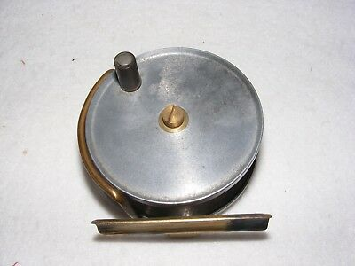 Vintage Fishing Reel Tackle Brass Aluminium Centre Pin 2.75 Inch Fly Cast Turned