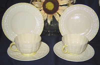 Belleek Tridacna - Yellow Lustre Teacup Trios (2)