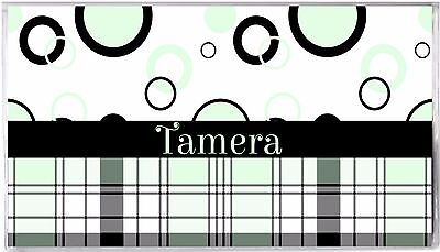 Personalized Checkbook Cover-Green Black Circles