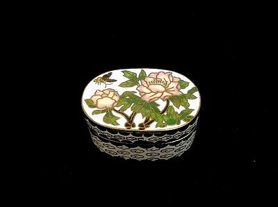 Beautiful Brass And Cloisonne Trinket Box. Butterfly And Flowers.