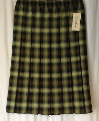 NEW LADIES SIZES  BOX PLEAT ELASTICATED WAIST PULL ON SKIRT PLAIN COLOURS S-2XL