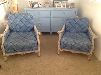 Antique French Style Hand Painted Arm Chairs In Blue Fabric England 1900-1950