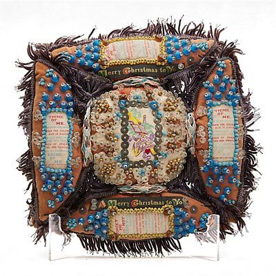 UNUSUAL WWI FOLKART LOVE TOKEN BEADWORK CUSHION c.1915