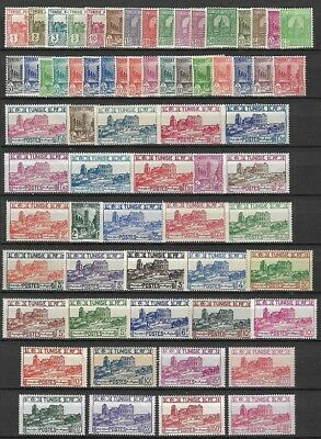 France TUNISIA 1926-1946 postage complete set of 66 stamps MNH-VF Sc 74-113D