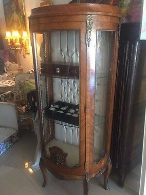Walnut French Style Display Cabinet Brass Surroundings