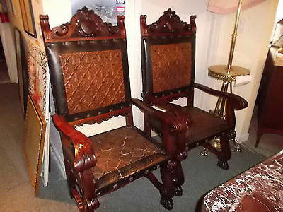 Pair of Antique Spanish Renaissance Brown Chairs with leather Fabric 1800-1899