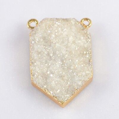 Natural Agate Druzy Titanium AB Connector Gold Plated T046679