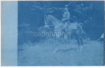 WWI Era Cavalry Soldier On Horse w/Sword Antique Cyanotype Real Photo Postcard