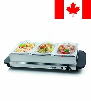 NutriChef PKBFWM33 Food Warming Tray/Buffet Server/Hot Plate Warmer, Steel