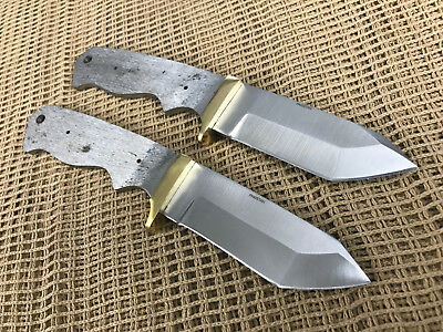 Lot of 2 Tanto Stainless Steel Knife Making Supplies Blank